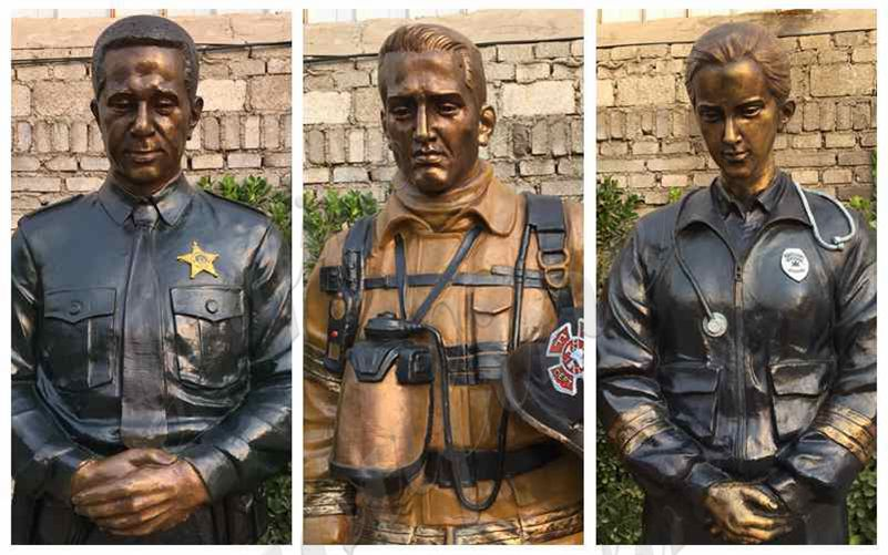 Custom Life SizeBronze Officer Firefighter EMS Statues details