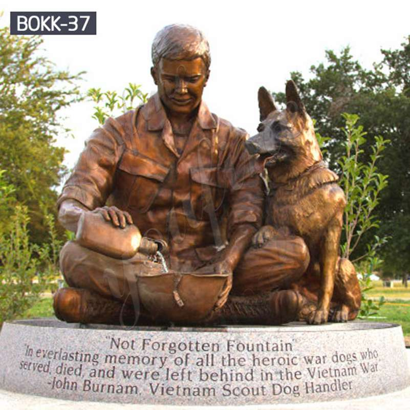 Famous Memorial Soldier and Dog Bronze Statue for Sale