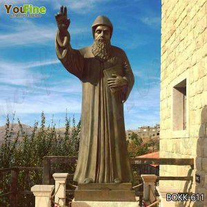 Large Catholic St. Charbel Bronze Garden Statue for Sale BOKK-611