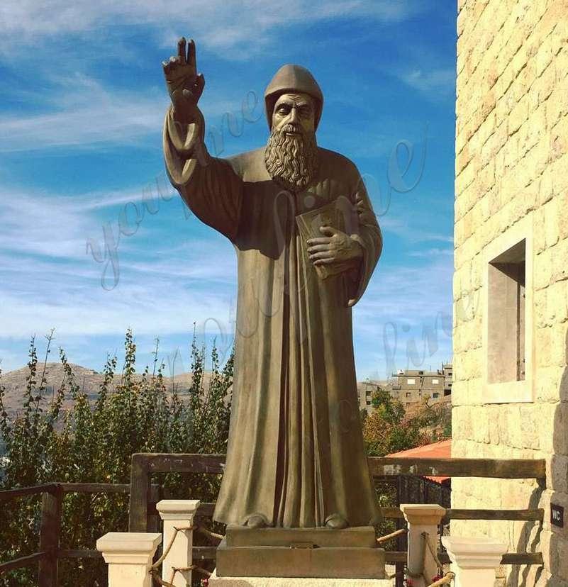 Large Catholic St. Charbel Bronze Garden Statue