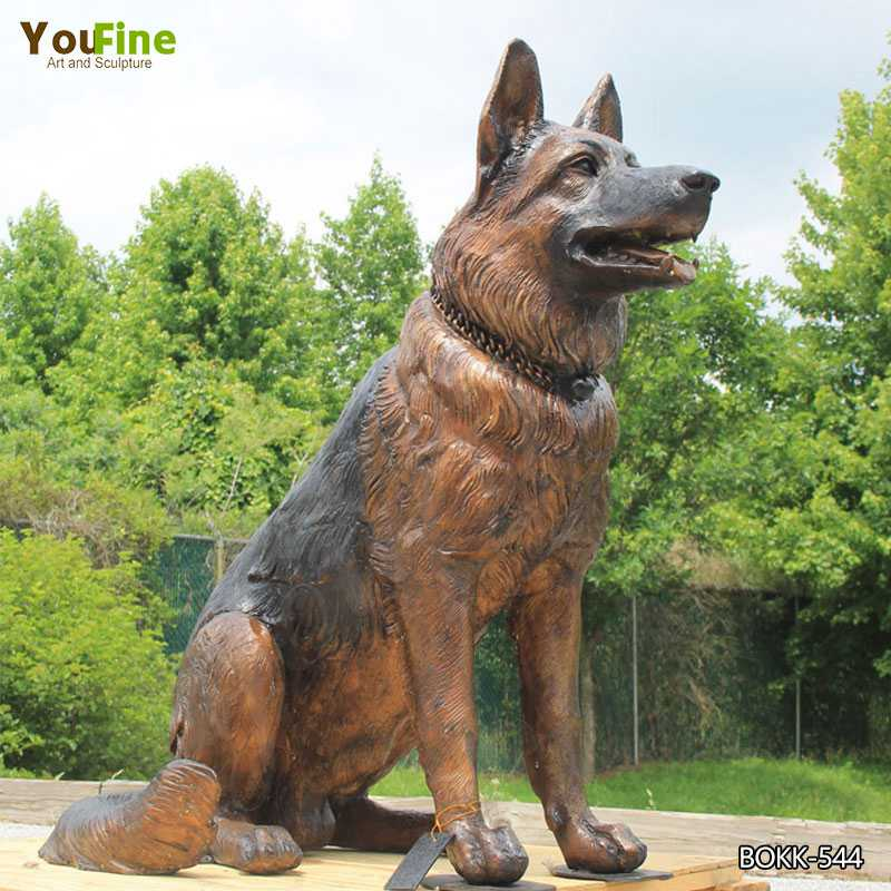 Bronze German Shepherd Memorial Statue