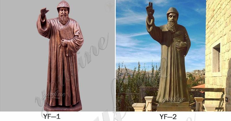 Outdoor Life Size Bronze Saint Charbel Statue