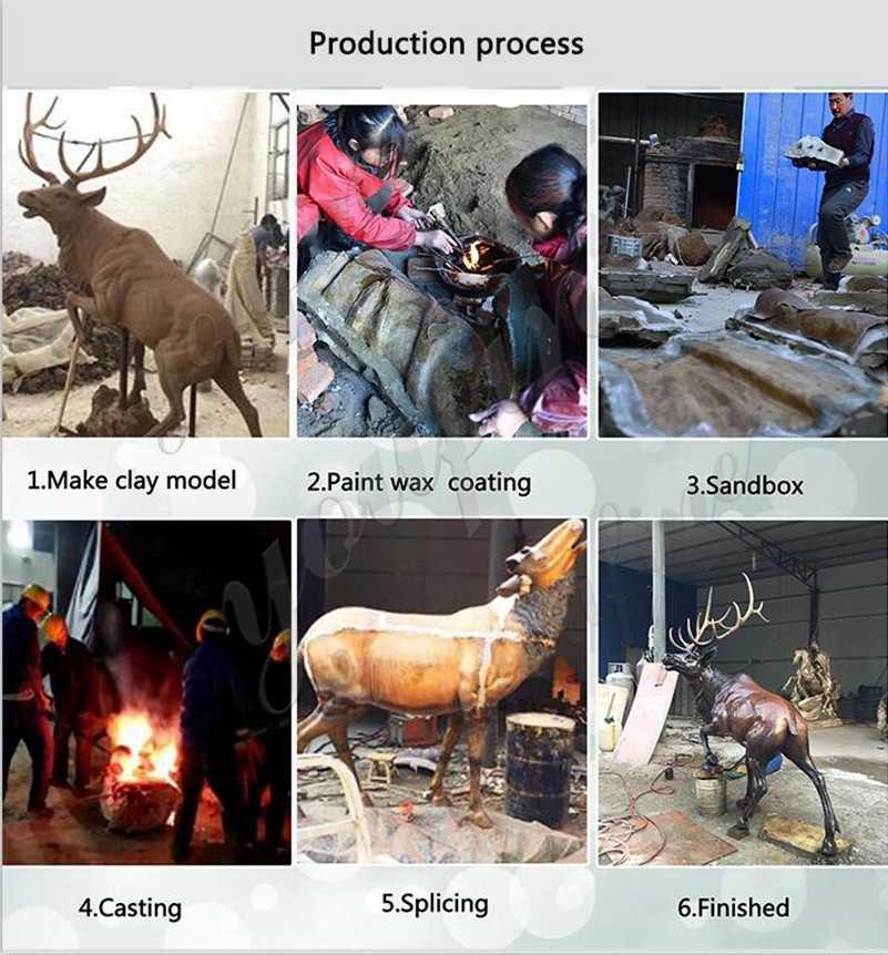 process of Bronze Metal Elk Outdoor Deer Statue
