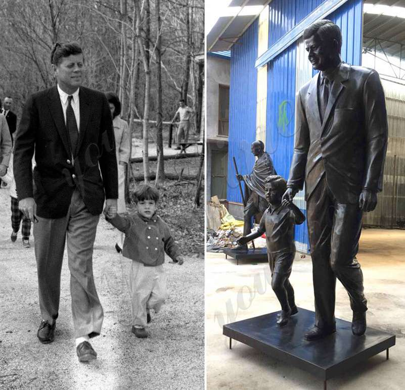 Custom Life Size Bronze John Fitzgerald Kennedy with Child Statue