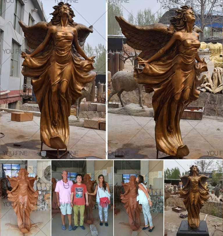 Custom Made Bronze Winged Angel Sculpture