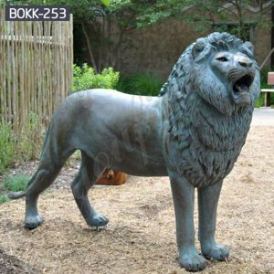 Life Size Antique Bronze Lion Statue for Driveway Suppliers BOKK-253