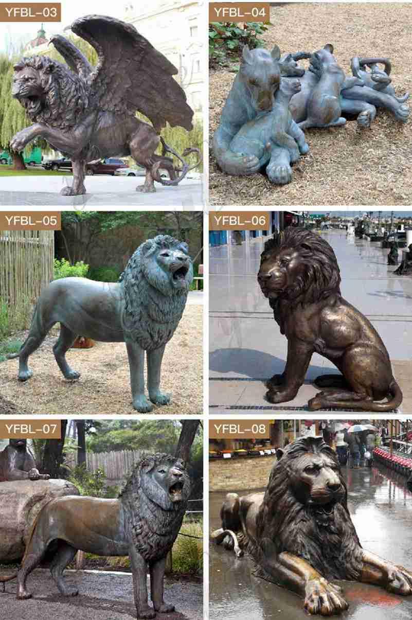 Life Size Antique Bronze Lion Statue for Driveway