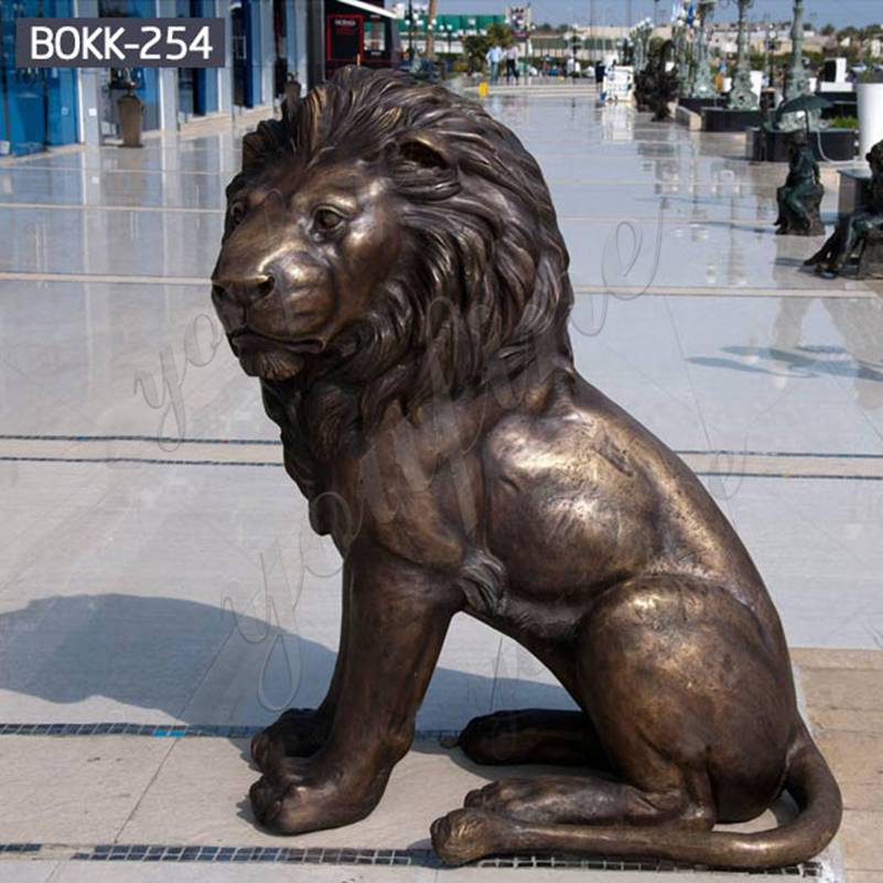 Life Size Bronze Squatting Lion Statue Outdoor for Sale BOKK-254