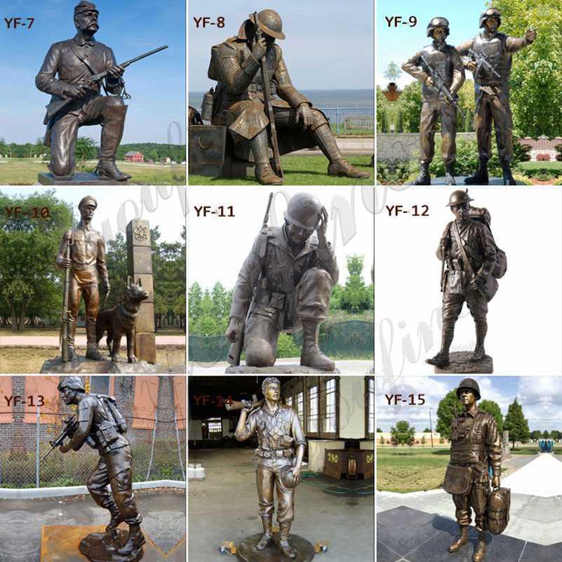 Memorial Bronze Standing Soldier Gun Statue