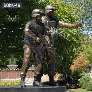 Outdoor Memorial Bronze Standing Soldier Gun Statue for Sale BOKK-49