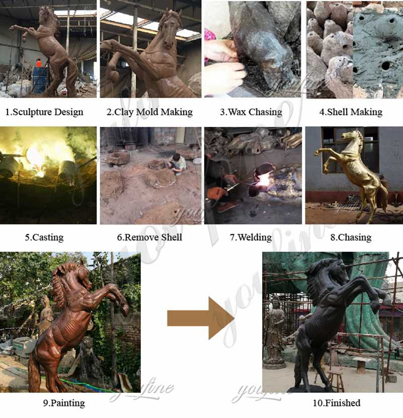 process of Large Metal Bronze Tiger Statue