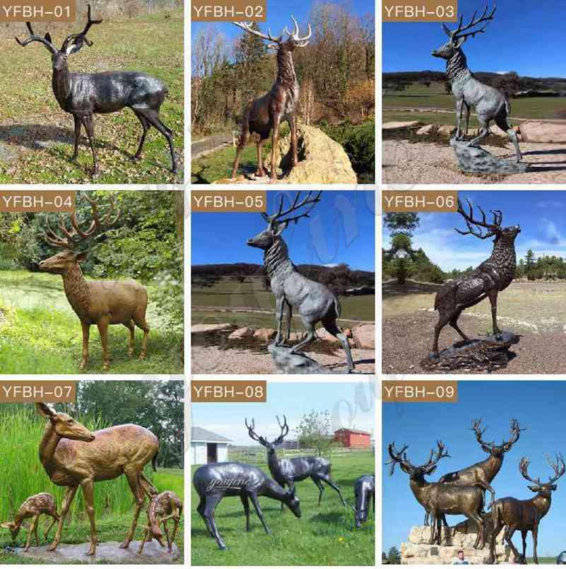 Antique Life Size Cast Bronze Reindeer Sculpture