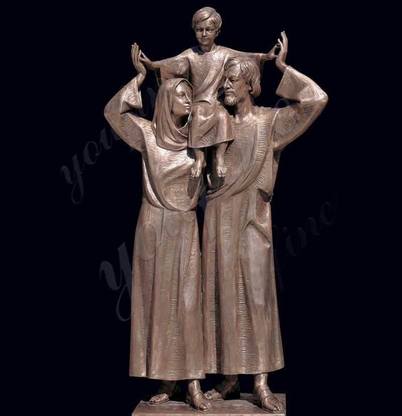 Catholic Cast Bronze Holy Family Outdoor Statue