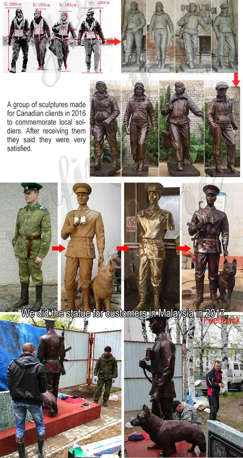 Customized Life Size Bronze Soldier Statues Suppliers