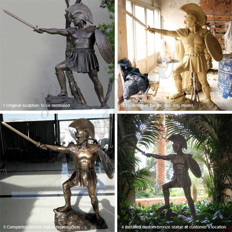 Customized-Trojan-Warrior-life-size-custom-bronze-statue-for-outdoor for sale