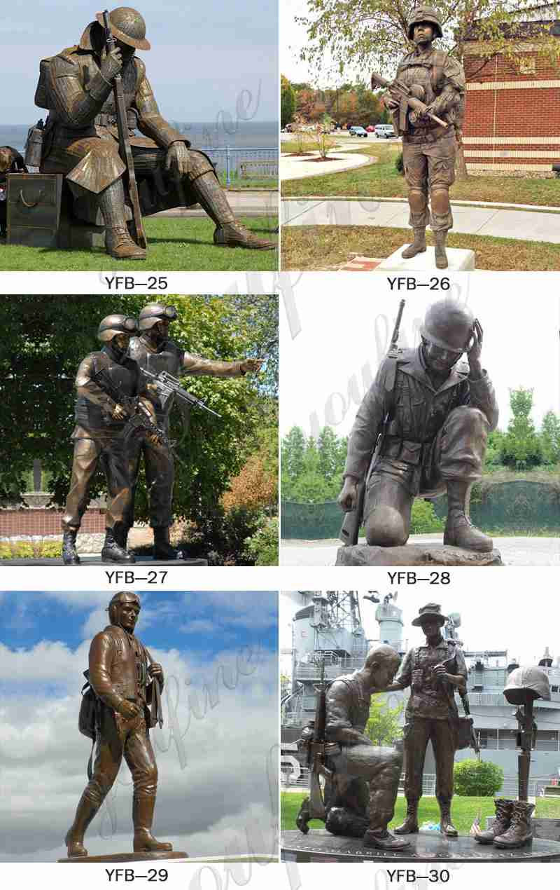 High Quality Outdoor Memorial Bronze Soldier Statue