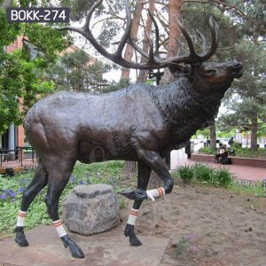 Outdoor Antique Bronze Life Size Reindeer Statue Suppliers BOKK-274