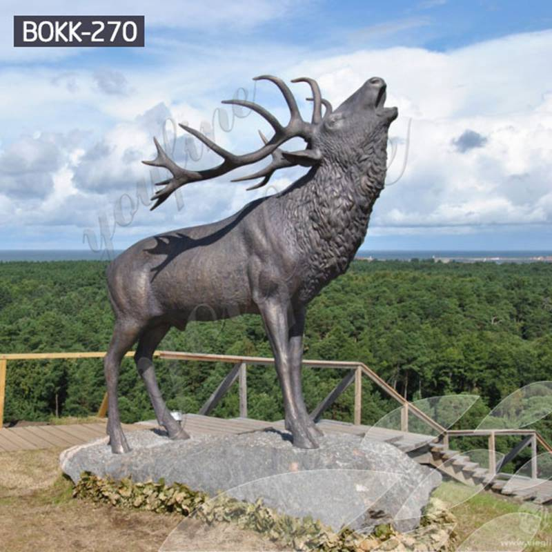 Outdoor Bronze Life Size Deer Statue Lawn Ornaments for Sale
