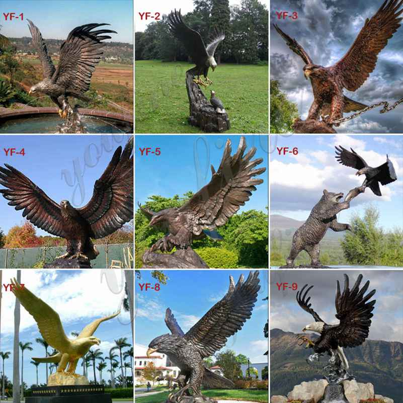 Outdoor Large Winged Bronze Eagle Statue for Sale