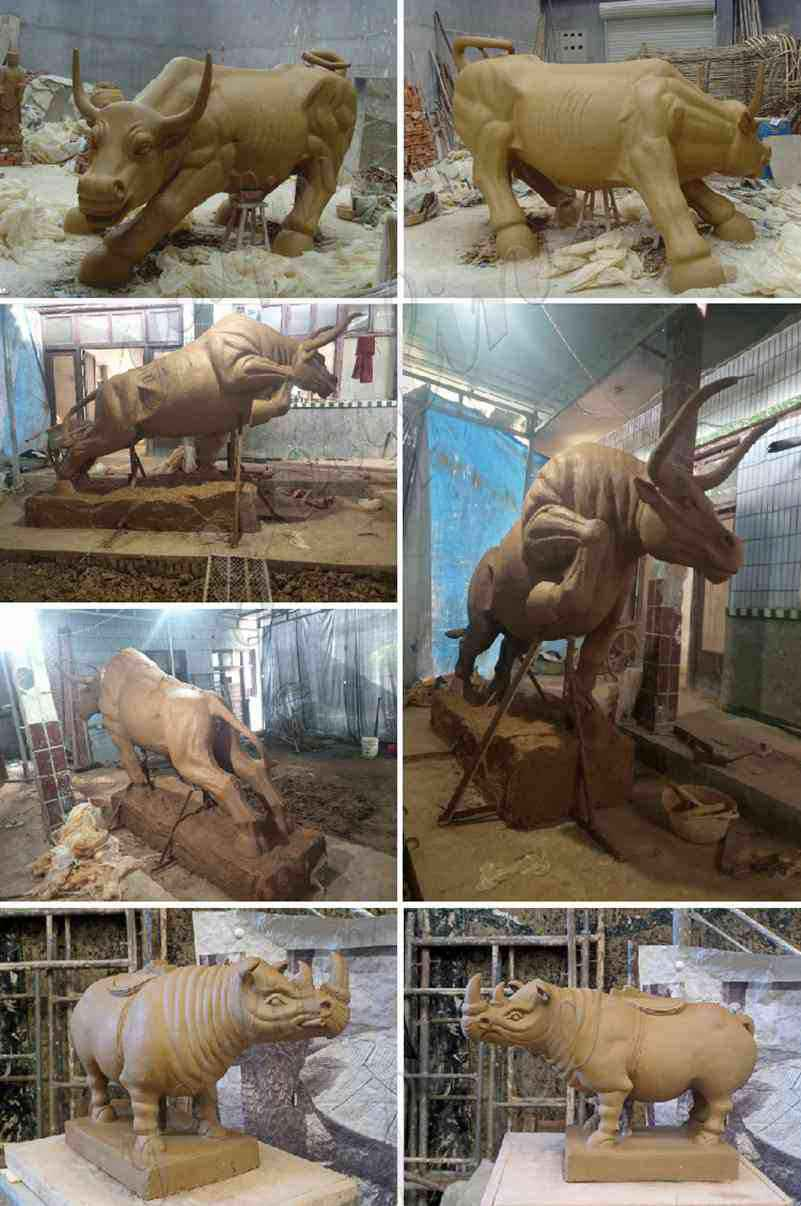 clay model of Bronze Bull Sculpture