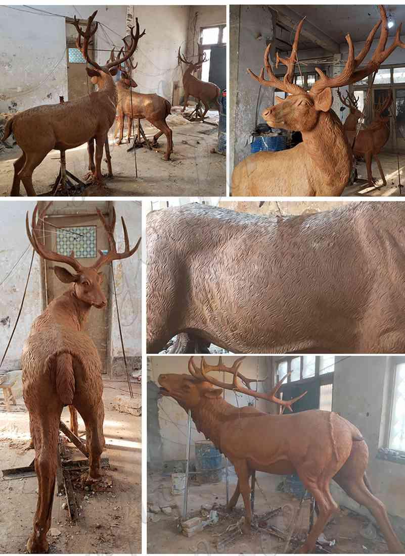 clay model of bronze deer statue life size