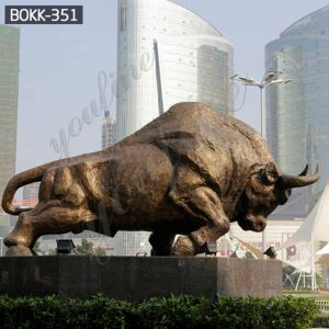 Large Bronze Bull Sculpture for Outdoor Street Decor Suppliers BOKK-351