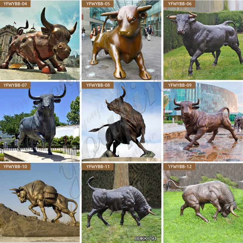 wildlife bronze bull sculptures