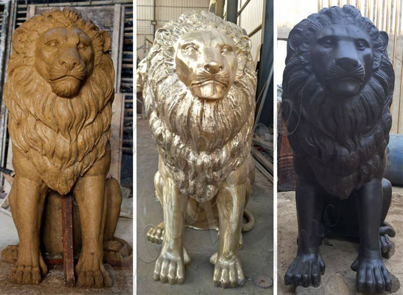 Antique Bronze Lion Statue Home Decor for Sale