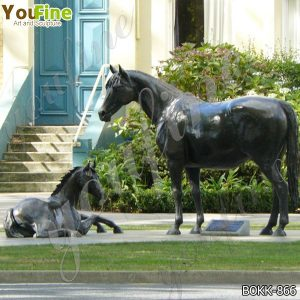 Life Size Antique Bronze Mare with Foal Sculptures Supplier BOKK-866