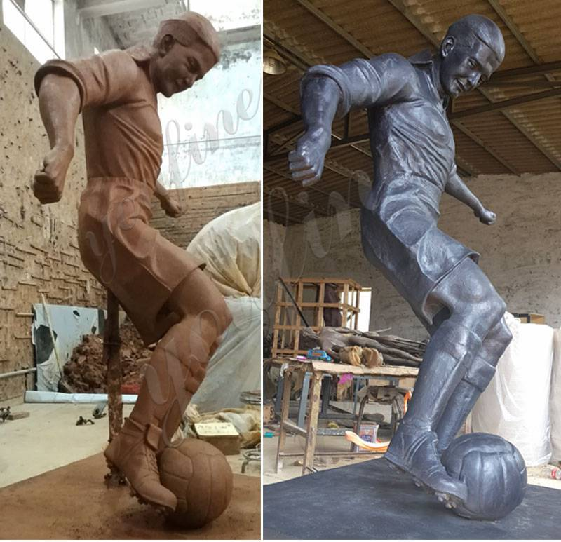 Bronze Football Man Statue for sale