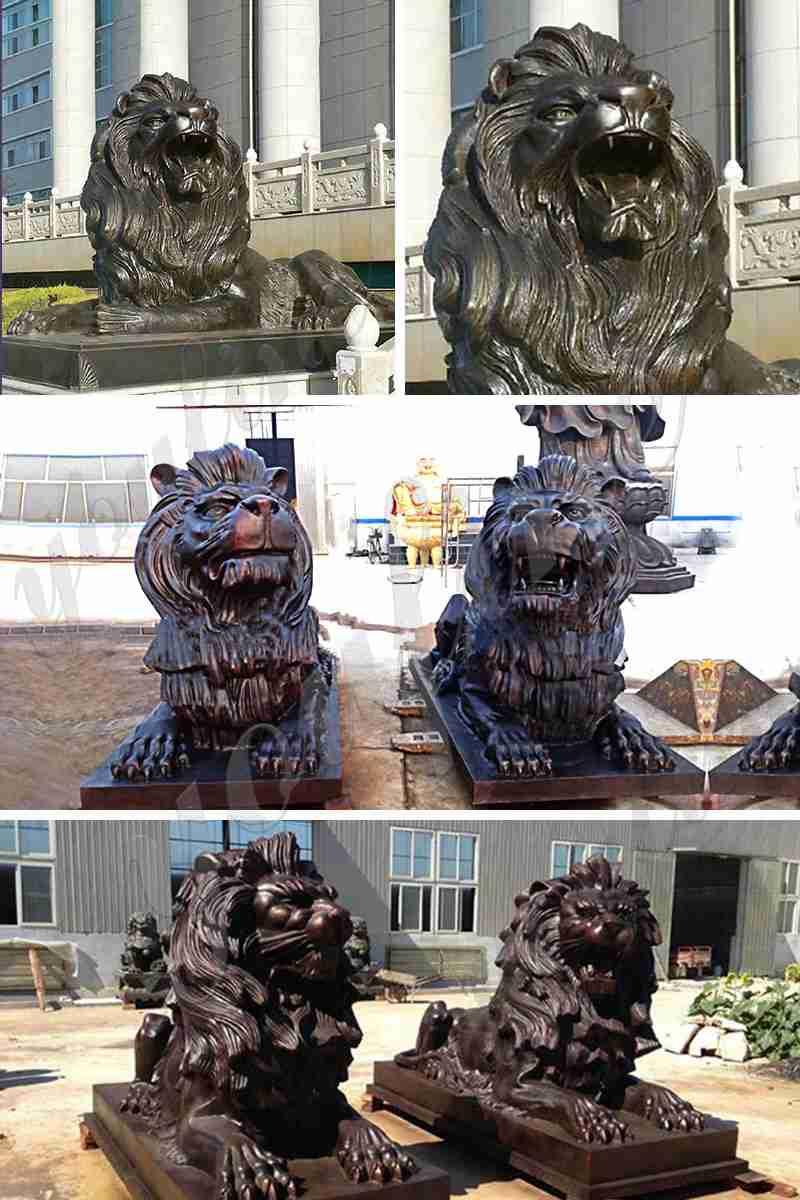 Bronze lion sculpture for sale