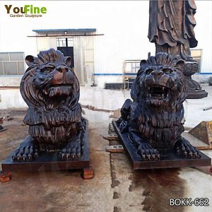 Cast Bronze Guardian Lion Statues for Front Porch Suppliers BOKK-662