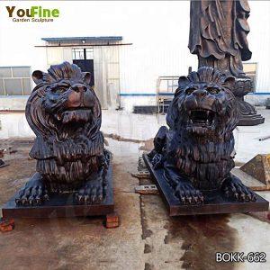 Cast Bronze Guardian Lion Statues for Front Porch Suppliers BOKK-662