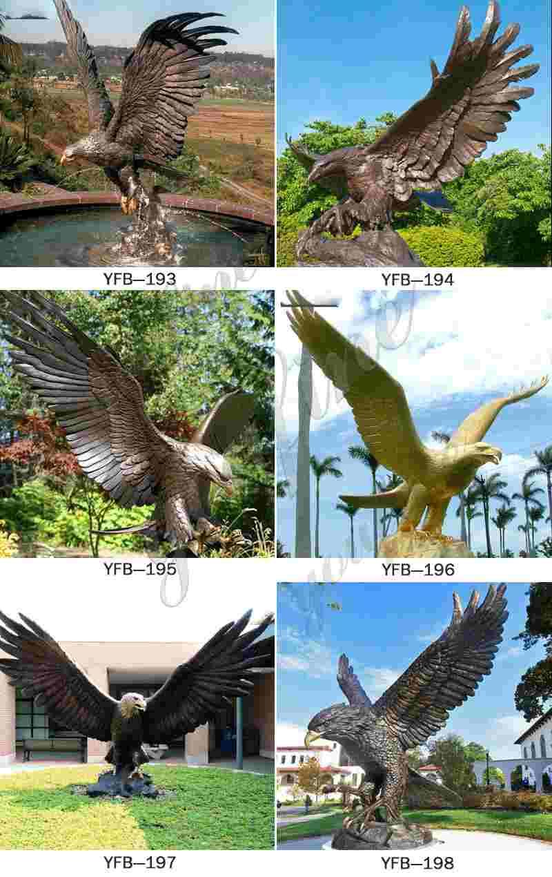 Large Bronze Eagle Garden Sculpture