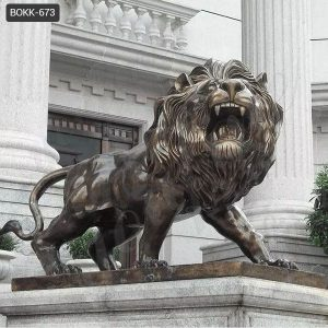 Large Bronze Lion Statue for Front Porch Bank Decor Suppliers BOKK-673