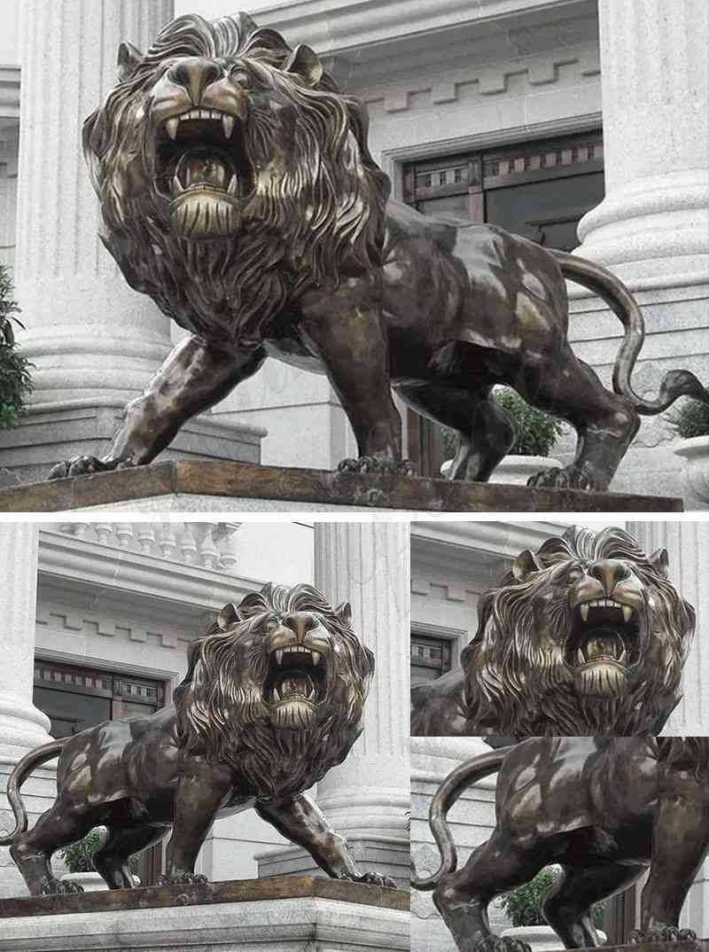 Large Bronze Lion Statue for Front Porch Bank