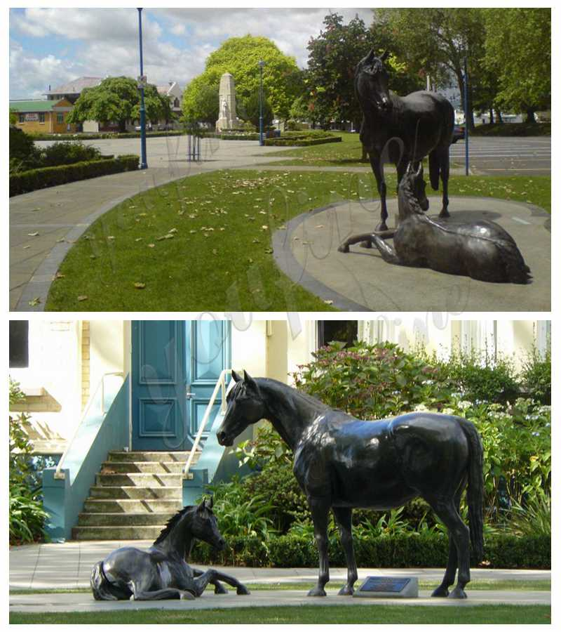 Life Size Bronze Mare with Foal Sculptures