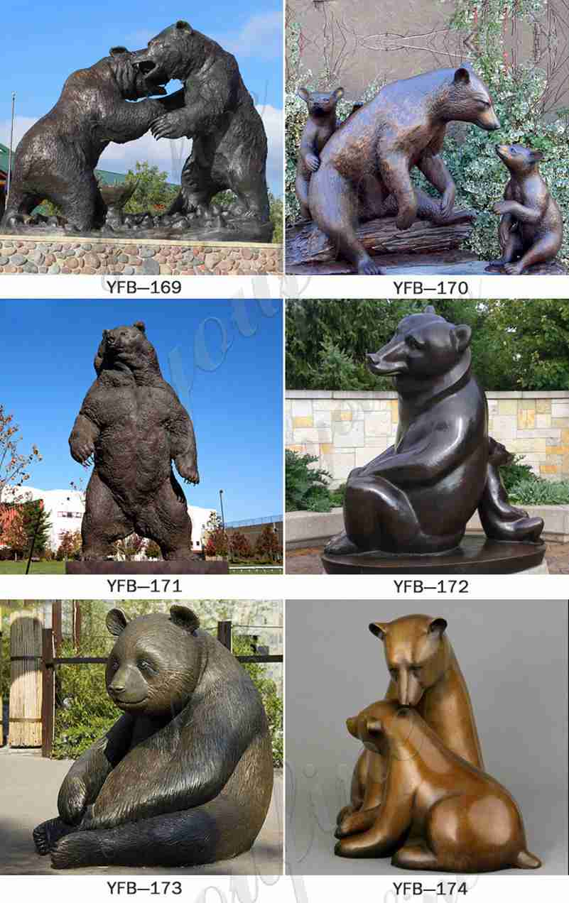 Life Size Bronze Walking Bear Statue for Sale