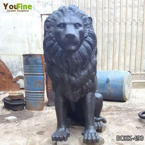 Outdoor Antique Bronze Lion Statue Home Decor for Sale BOKK-490