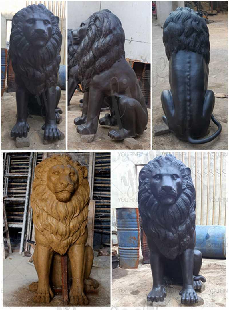 Outdoor Antique Bronze Lion Statue Home Decor