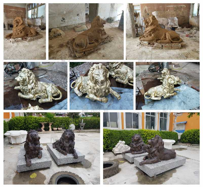 Outdoor Antique Bronze Lion Statue