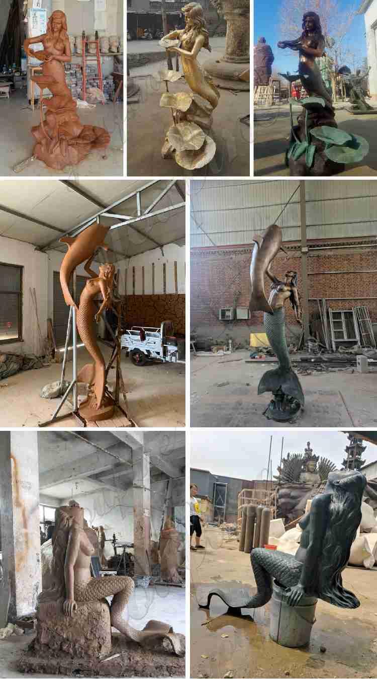 Outdoor Life Size Bronze Mermaid Garden Statue