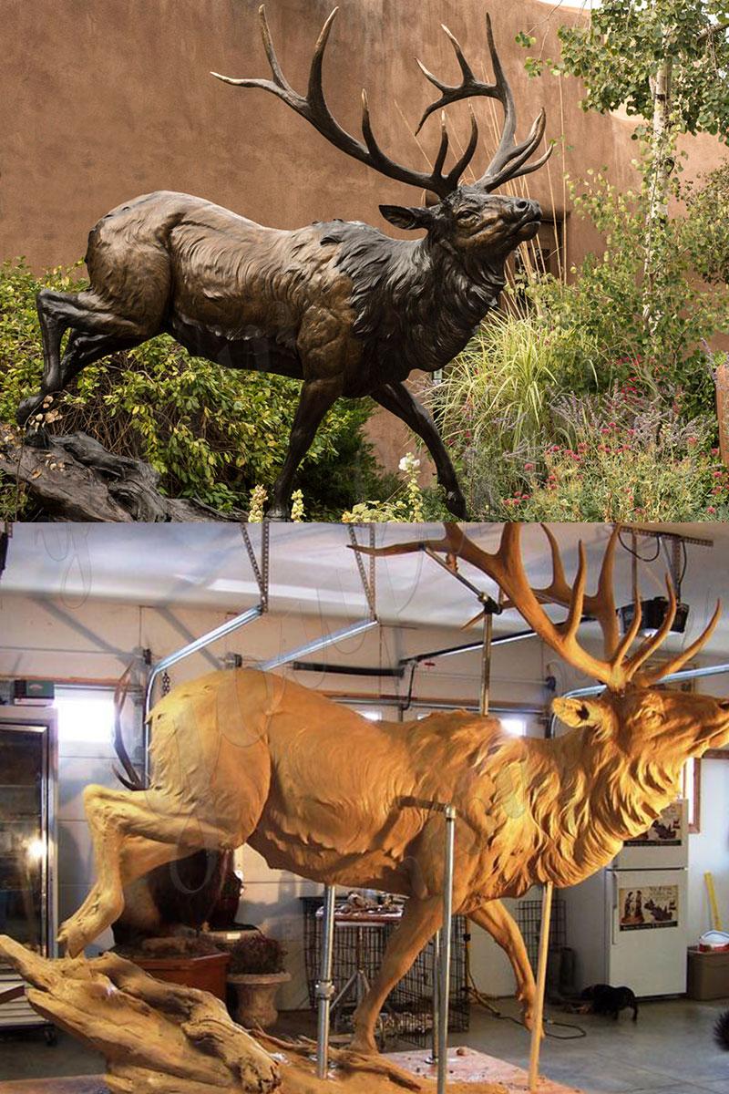 bronze elk statue life size