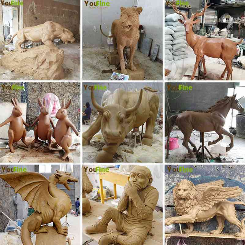 clay mold of bronze animal statues