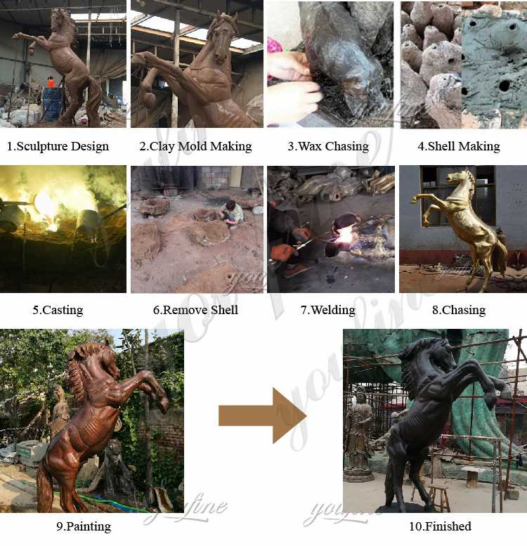 process of Antique Bronze Mare with Foal Sculptures
