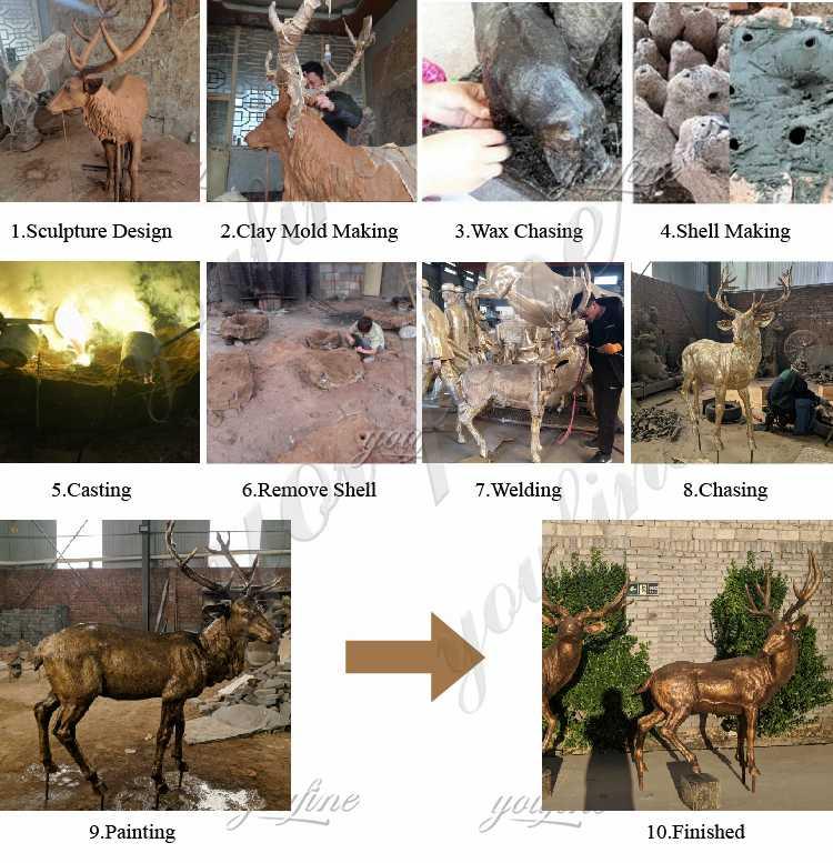 process of bronze elk statue life size