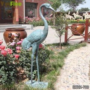 Antique Life Size Bronze Crane Bird Statue for Garden for Sale BOKK-780