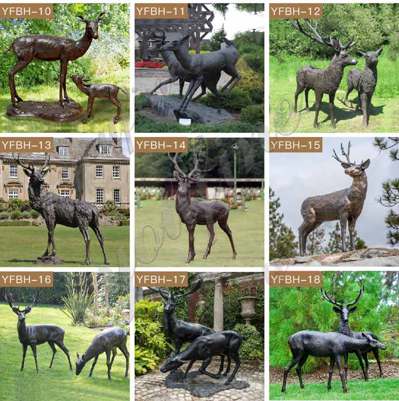 Bronze Doe and Deer Statue for the Yard