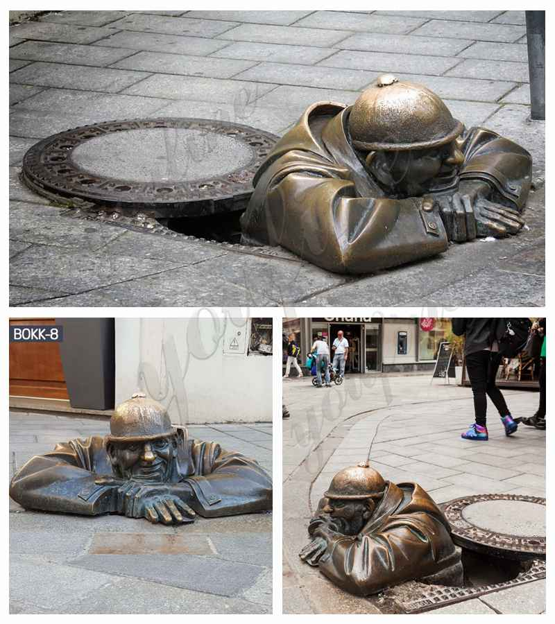 Bronze Man at Work Statue in Bratislava details