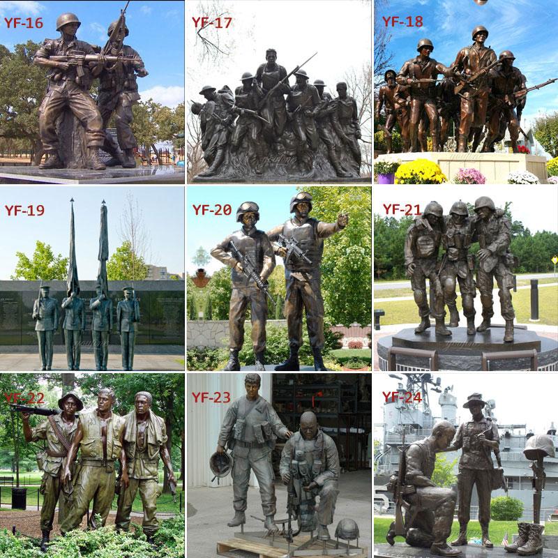 Bronze military memorial statues
